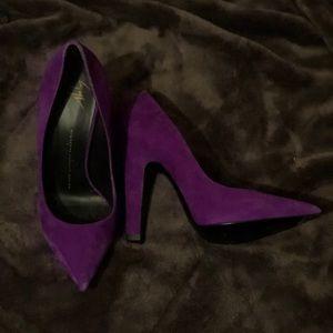 Giuseppe suede purple pumps